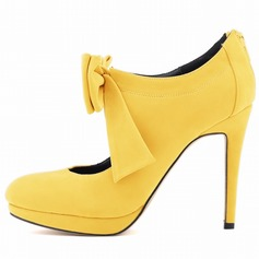 Camoscio Tacco a spillo Stiletto Stivali alla caviglia con Archetto Cerniera scarpe