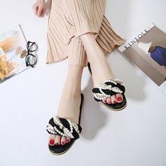 De mujer Cuero Tacón plano Planos Pantuflas con Perlas de imitación Correa Trenzada zapatos