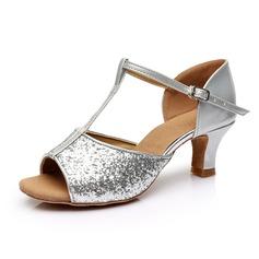 Kvinner Glitrende Glitter Hæle Sandaler Latin med T-Stropp Dansesko