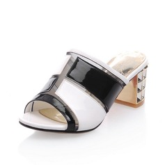 Leatherette Chunky Heel Sandals Pumps Peep Toe With Crystal shoes