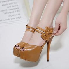 Women's Leatherette Stiletto Heel Sandals Pumps Platform Peep Toe With Bowknot shoes