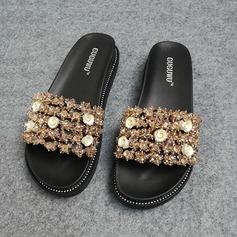 Women's Leatherette Flat Heel Sandals Peep Toe Slippers With Rhinestone shoes