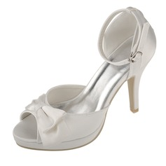 Women's Satin Stiletto Heel Peep Toe Platform Sandals With Bowknot Buckle