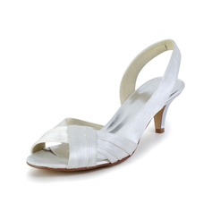 Women's Satin Kitten Heel Sandals Slingbacks With Ruched
