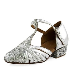 Women's Kids' Leatherette Sparkling Glitter Heels Flats Pumps Modern With T-Strap Dance Shoes