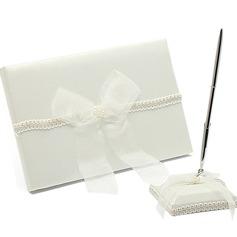 Delicado La perla de faux/Arco Libro de visitas & sistema de la pluma