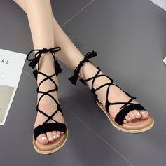 Women's Suede Wedge Heel Sandals Peep Toe With Tassel Braided Strap shoes