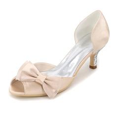 Women's Silk Like Satin Stiletto Heel Peep Toe Pumps With Bowknot