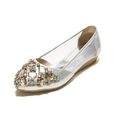 Leatherette Flat Heel Flats Closed Toe With Rhinestone shoes