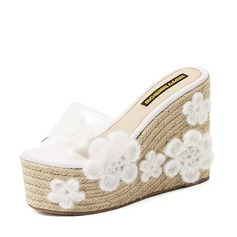 Women's Leatherette Wedge Heel Peep Toe Platform Pumps Sandals With Flower