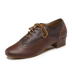 Men's Leatherette Real Leather Heels Modern Dance Shoes