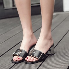 Women's Leatherette Chunky Heel Sandals Peep Toe Slippers With Buckle shoes