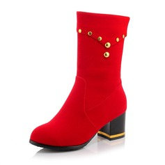 Women's Suede Chunky Heel Pumps Boots Mid-Calf Boots shoes