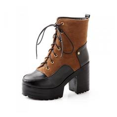 Femmes Similicuir Talon bottier Plateforme Bottines avec Lanière tressé chaussures