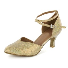 Women's Sparkling Glitter Heels Pumps Modern With Ankle Strap Dance Shoes