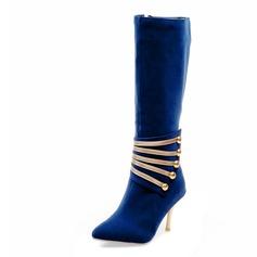 Mulheres Camurça Salto agulha Bota no joelho com Espumante Glitter sapatos