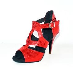 Donna Similpelle Tacchi Sandalo Latino con Animale Stampa Scarpe da ballo