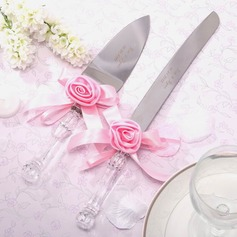 Personalized Lovely Rose Stainless Steel Serving Sets With Ribbons