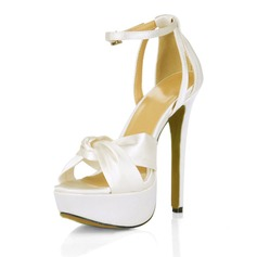 Women's Silk Like Satin Stiletto Heel Platform Sandals With Buckle Rhinestone