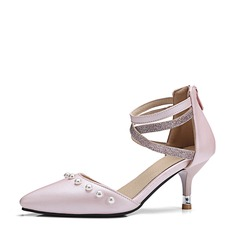 Women's Leatherette Stiletto Heel Sandals Pumps Closed Toe With Imitation Pearl shoes