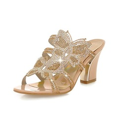 Women's Leatherette Chunky Heel Sandals Slippers With Rhinestone shoes