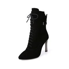 Women's Suede Stiletto Heel Closed Toe Mid-Calf Boots With Braided Strap shoes