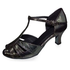 Patent Leather Heels Sandals Latin Dance Shoes With T-Strap