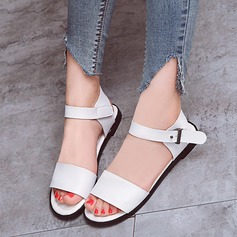 Women's Leatherette Flat Heel Flats Peep Toe With Buckle shoes