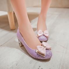 Donna Similpelle Tacco spesso Stiletto con Bowknot Paillette scarpe