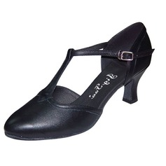 Real Leather Heels Pumps Modern Ballroom Dance Shoes With T-Strap