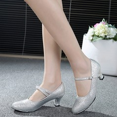 Women's Sparkling Glitter Pumps Ballroom Swing With Ankle Strap Dance Shoes