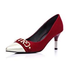 Camurça Salto agulha Bombas Fechados com Salto de joias sapatos