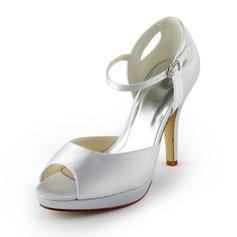 Women's Satin Cone Heel Peep Toe Platform Sandals With Buckle