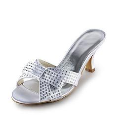 Women's Satin Stiletto Heel Sandals With Bowknot Rhinestone