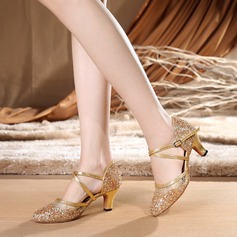 Women's Sparkling Glitter Heels Latin With Ankle Strap Dance Shoes