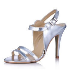 Leatherette Cone Heel Sandals Peep Toe Slingbacks With Buckle shoes