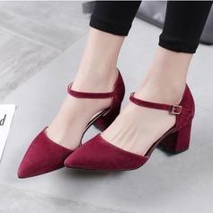 Kadın Süet Kalın Topuk Pompalar ayakkabı