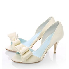 Women's Satin Stiletto Heel Peep Toe Beach Wedding Shoes With Bowknot