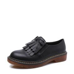 Women's Leatherette Flat Heel Flats With Bowknot Tassel shoes