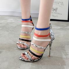 Dámské Koženka Jehlový podpatek Sandály Lodičky Peep Toe S Animal Print Zip Ze dvou částí obuv
