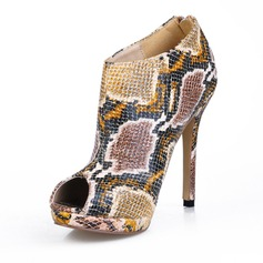 Women's Leatherette Stiletto Heel Peep Toe Ankle Boots With Animal Print shoes