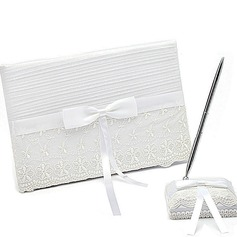 Delicate Bow/Sash/Lace Guestbook & Pen Set