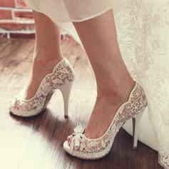 Femmes Dentelle Talon stiletto À bout ouvert Beach Wedding Shoes avec Cravate ruban