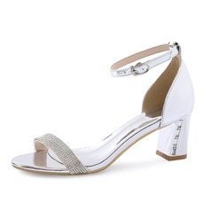 Women's Patent Leather Chunky Heel Sandals Peep Toe With Rhinestone shoes