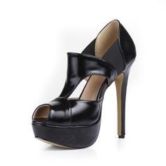 Konstläder Stilettklack Sandaler Plattform Peep Toe skor
