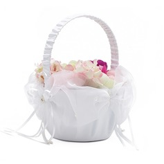 Classic Flower Basket in Satin With Faux Pearl