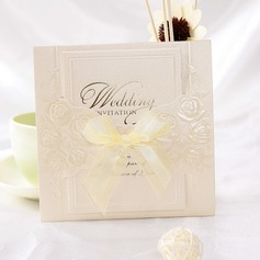 Classic Style Wrap & Pocket Invitation Cards With Ribbons (Set of 10)
