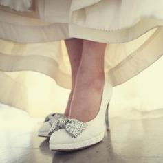 Femmes Dentelle Talon stiletto Bout fermé Plateforme Beach Wedding Shoes avec Bowknot