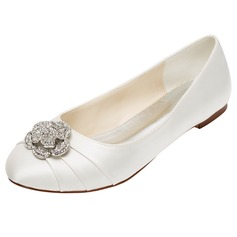 Women's Silk Like Satin Flat Heel Closed Toe Flats With Flower