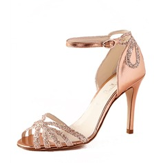 Women's Leatherette Sparkling Glitter Stiletto Heel Peep Toe Pumps Sandals With Sparkling Glitter Split Joint